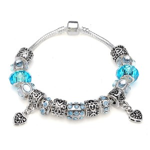 Murano Glass Crystal Bracelet with 925 Silver Plated Beads Blue Colour 20cm