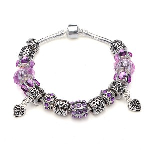 Murano Glass Crystal Bracelet with 925 Silver Plated Beads Purple Colour 18cm