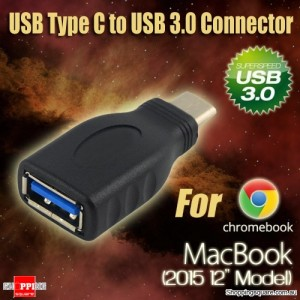 USB 3.1 Type C Male to USB 3.0 A Female Adapter Connector for Chromebook 2015 Macbook 12 Inch