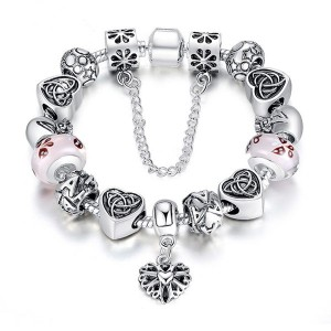 18CM Antique Silver Heart Letter Crystal Glass Beads Charm Bracelet