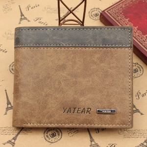 Men's PU Leather Bifold Wallet ID Business Credit Card Holder Brown Colour