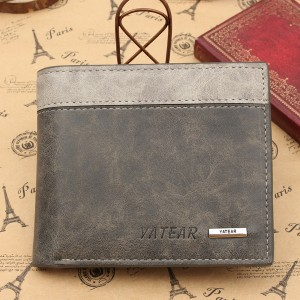 Men's PU Leather Bifold Wallet ID Business Credit Card Holder Grey Colour