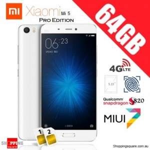 Xiaomi Mi5 Dual SIM 4G 64GB Pro Edition Unlocked Smart Phone White