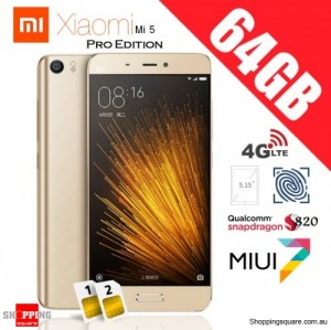 Xiaomi Mi5 Dual SIM 4G 64GB Pro Edition Unlocked Smart Phone Gold