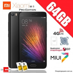 Xiaomi Mi5 Dual SIM 4G 64GB Pro Edition Unlocked Smart Phone Black