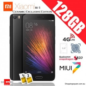 Xiaomi Mi5 Dual SIM 4G 128GB Ceramic Exclusive Edition Unlocked Smart Phone Black