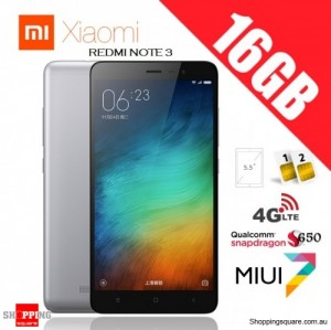 Xiaomi Redmi Note 3 Dual SIM 4G 16GB Unlocked Smart Phone Gray