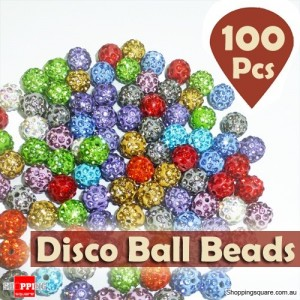 100 Pcs of 10MM Shamballa Inspired Crystal Beads Disco Balls for Diy Bracelet Making Mixed Colours