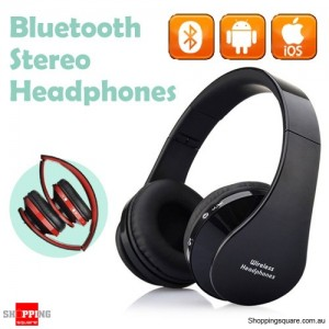 Foldable Wireless Bluetooth Handsfree Stereo Headset Headphones Earphones with Mic For iPhone Android Black Colour
