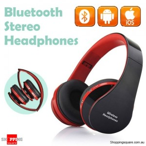 Foldable Wireless Bluetooth Handsfree Stereo Headset Headphones Earphones with Mic For iPhone Android Red Colour