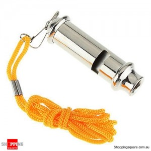 High Decibel Loud Emergency Metal Referee Whistle for Outdoor Sports Camping Match with Strap