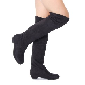 Women's Stylish Winter Flat Heel Over The Knee Suede Slouch Boots Shoes Black Colour Size 6