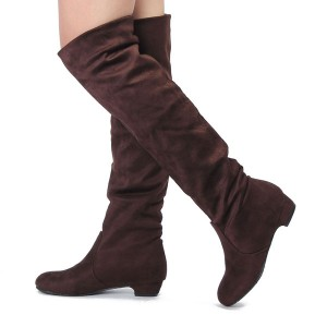 Women's Stylish Winter Flat Heel Over The Knee Suede Slouch Boots Shoes Brown Colour Size 6