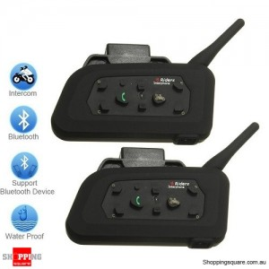 2X Bluetooth 1000m Motorcycle Helmet Intercom Headset Connects Up to 6 Riders