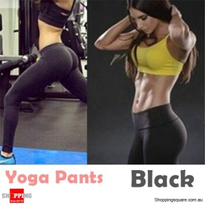 Women's Sexy High Waisted Sports Pants Leggings for Fitness Yoga Gym Running Black Colour