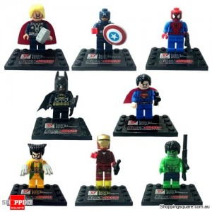 Set of 8 Super Heroes Avengers Series Mini Figures Captain America Superman Spiderman Batman Iron Man