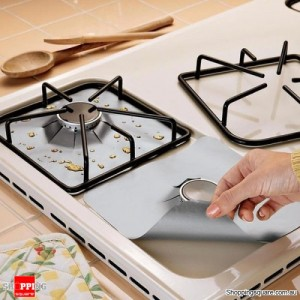 4Pcs Reusable Silver Colour Gas Range Hob Stovetop Non Stick Protector Liner Better than Foil