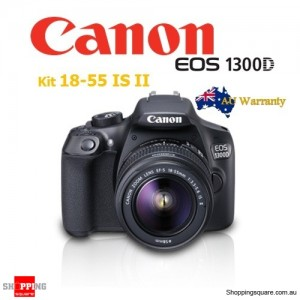 Canon EOS 1300D Kit 18-55 IS II Lens Rebel T6 DSLR SLR Camera Black