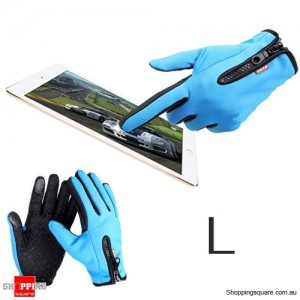 Waterproof Warm Ski Sport Gloves for Riding Motorcycle Touch screen Size L Blue Colour