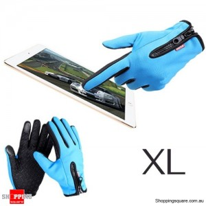 Waterproof Warm Ski Sport Gloves for Riding Motorcycle Touch screen Size XL Blue Colour