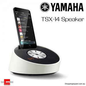 YAMAHA TSX-14 Lifestyle Lightning Dock Alarm Clock FM Radio Speaker for iPhone  -White