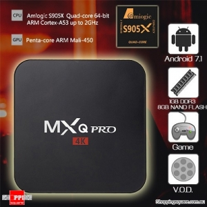 MXQ Pro 4K UHD S905X 2.0GHZ Quad Core Android 7.1 TV Box
