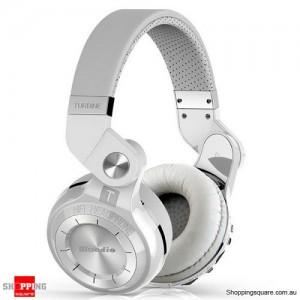 Bluedio Turbine T2 Plus (T2+) Bluetooth 4.1 Wireless Headset FM Radio Micro SD Card White