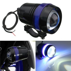 12V 30W Motorcycle Driving U3 LED Angel Eye Fog Spot Headlight Flash Lamp w/ Adjustable Brightness Blue Colour