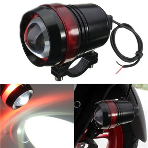 12V 30W Motorcycle Driving U3 LED Angel Eye Fog Spot Headlight Flash Lamp w/ Adjustable Brightness Red Colour