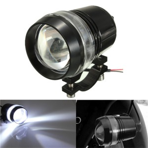 12V 30W Motorcycle Driving U3 LED Angel Eye Fog Spot Headlight Flash Lamp w/ Adjustable Brightness White Colour