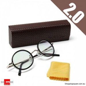Retro Vintage Style Round Lightweight Reading Magnifying Glasses Spectacles for Fatigue Relieve Strength 2.0