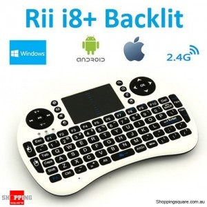 Rii i8+ Backlit LED Multi-Touch Wireless Mini Keyboard Air Mouse 2.4G Touchpad for PC Android TV Box XBOX360 PS3 White Colour