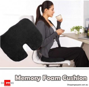 Memory Foam Cushion Seat for Back Support For Orthopedic Coccyx Pain MA173 Black Colour