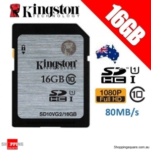 Kingston 16GB SDHC SDXC Class 10 UHS-I SD Card Memory Card 80MB/s (SD10VG2)