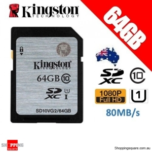 Kingston 64GB SDHC SDXC Class 10 UHS-I SD Card Memory Card (SD10VG2)