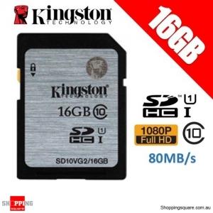 Kingston 16GB SDHC SDXC Class 10 UHS-I SD Card Memory Card (SD10VG2)
