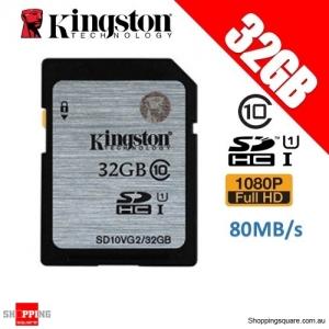 Kingston 32GB SDHC SDXC Class 10 UHS-I SD Card Memory Card (SD10VG2)