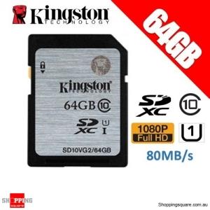 Kingston 64GB SDHC SDXC Class 10 UHS-I SD Card Memory Card (SD10VG2)