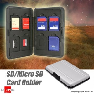 16 in 1 Micro SD SDXC SDHC Storage Memory Card Holder Box Case Protector Aluminum Silver Colour
