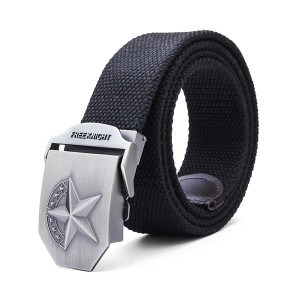140CM Men's Belt Strip with Extended Thickening Canvas Weaving Buckle Black Colour