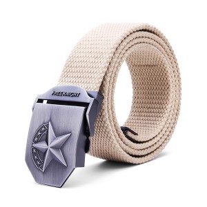 140CM Men's Belt Strip with Extended Thickening Canvas Weaving Buckle Khaki Colour