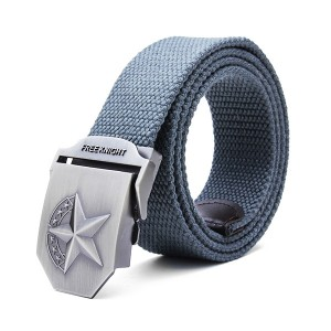 140CM Men's Belt Strip with Extended Thickening Canvas Weaving Buckle Dark Grey Colour