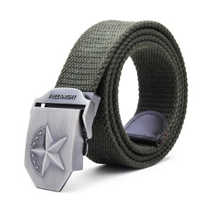 140CM Men's Belt Strip with Extended Thickening Canvas Weaving Buckle Army Green Colour
