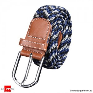 Unisex Stretch Elastic Braided Leather Woven Buckle Belt 01 Colour