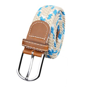 Unisex Stretch Elastic Braided Leather Woven Buckle Belt 05 Colour