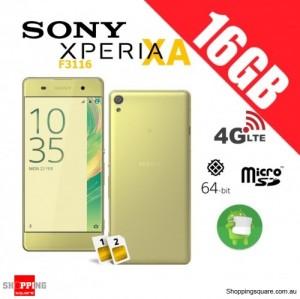 Sony Xperia XA F3116 Dual Sim 4G 16GB Unlocked Smart Phone Lime Gold