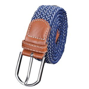 Unisex Stretch Elastic Braided Leather Woven Buckle Belt 03 Colour
