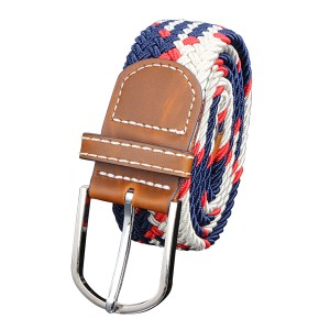 Unisex Stretch Elastic Braided Leather Woven Buckle Belt 04 Colour