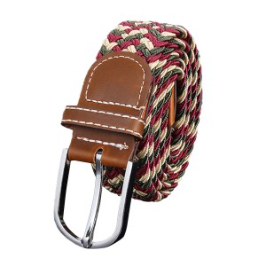 Unisex Stretch Elastic Braided Leather Woven Buckle Belt 06 Colour