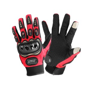 Full Finger Gloves Supported Touch Screen for Motorcycle Riding Sports Red Colour Size XXL